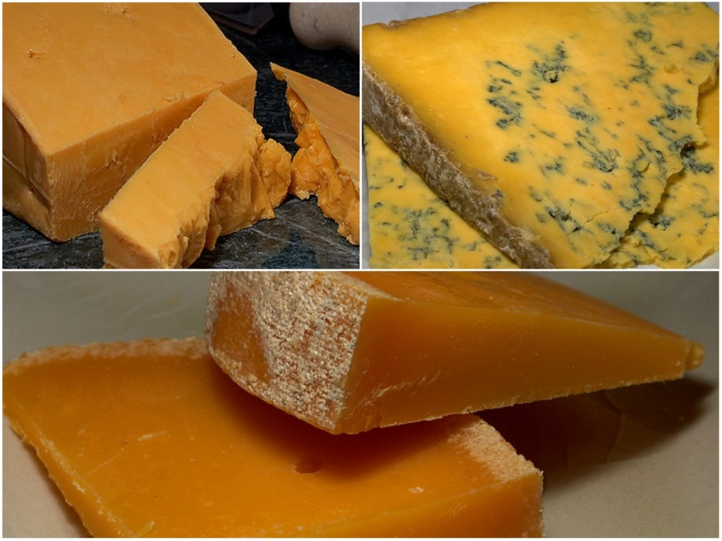 Orange Cheeses (Red Leicester, Shropshire Blue, Mimolette)