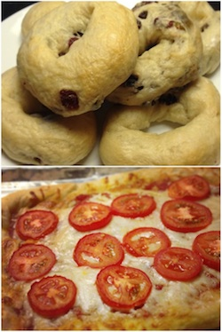 bagels and pizza made with whey dough